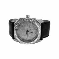 Bold Baguette Bling Bling Silver Watch Black Band