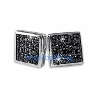 Box 32 Stones Black CZ Micro Pave Bling Earrings .925 Silver