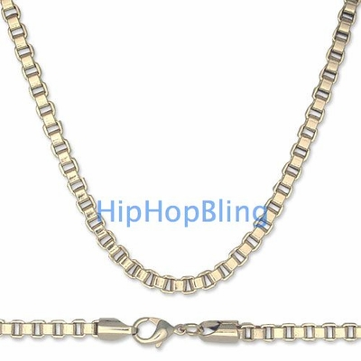 Box 6mm 36 Inch Gold Plated Quality Hip Hop Chain