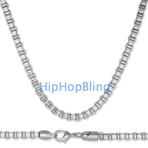 Box 6mm 36 Inch Rhodium Plated Quality Hip Hop Chain