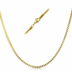 Box IP Gold Stainless Steel Chain Necklace 2MM