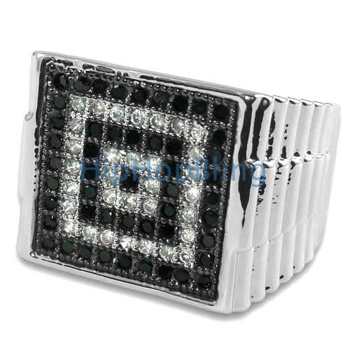 Bullseye Black White CZ Micro Pave Silver Mens Iced Out Ring