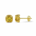 Canary 6MM CZ Stud Halo Bling Bling Earrings