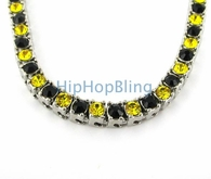 Canary & Black Panther 1 Row Iced Out Chain