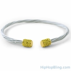 Canary Ice White Guitar String Style Bracelet