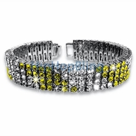 Candy Cane Canary & White 4 Row Bling Bling Bracelet