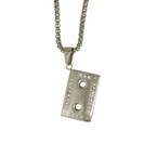 Cassette Tape Stainless Steel Pendant Chain Set Bling
