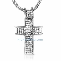 Channel Ice Bling Bling Cross & Chain Small