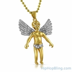 Cherub Angel Spread Wings Gold CZ Pendant