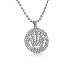 Circle Crown Micropave Iced Out Pendant