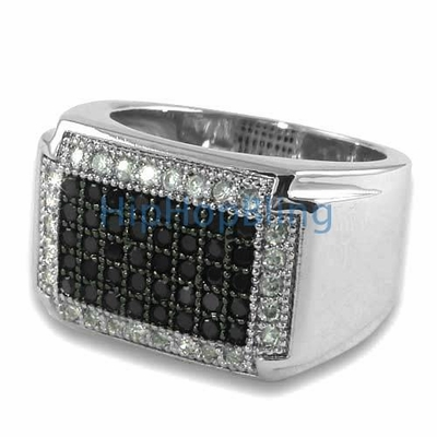Classic Black White CZ Micro Pave Silver Iced Out Mens Ring