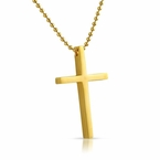 Clean Cross Gold Stainless Steel Pendant