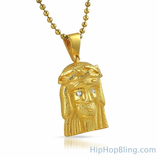 Clean Micro Jesus Piece Gold Pendant .925 Sterling Silver