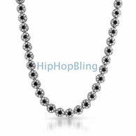 Cluster Chain White Black Center Iced Out