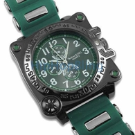 Compass Solid Black Green Jelly Watch