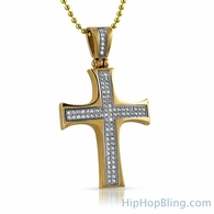 Convex Gold Stainless Steel Mini CZ Cross