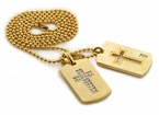 Cross Gold Double Dog Tag Set