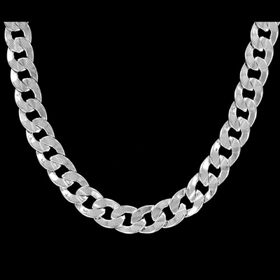 Cuban Concave 10mm 24 Inch Silver Plated Hip Hop Chain Necklace