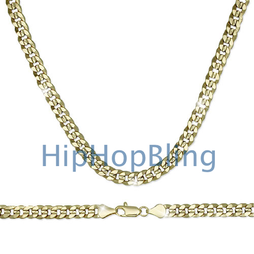 Cuban Concave 8mm 24 Inch Gold Plated Hip Hop Chain
