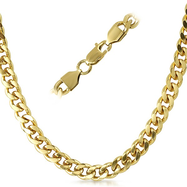 cuban ip gold stainless steel chain necklace 8mm gold