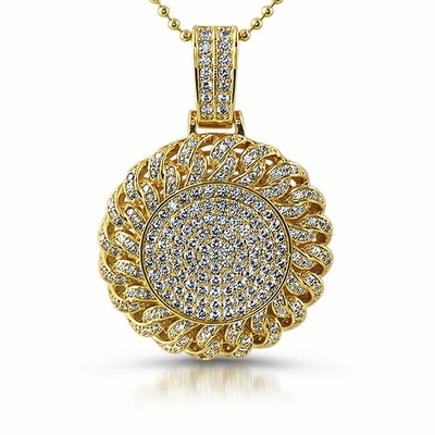 Cuban Medallion Micro Pave Bling Bling Gold