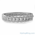 Cuban Rhodium CZ Micro Pave Bangle