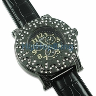 Custom Bezel Black Case Leather Iced Out Watch