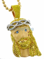 Custom Blonde Blue Eyes Gold Jesus Piece Kanye West Style