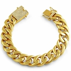 CZ Clasp 15MM Gold Cuban Thick Polished Bracelet