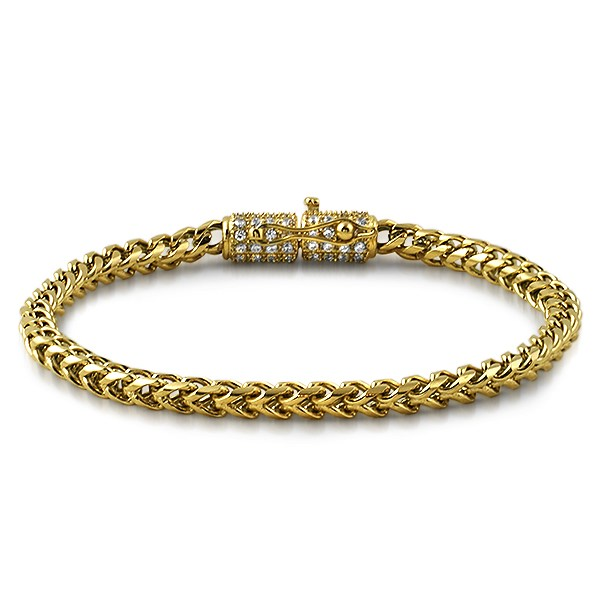 CZ Clasp 6MM Gold Stainless Steel Franco Bracelet