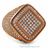Deep Ice Rose Gold CZ Micro Pave Bling Ring