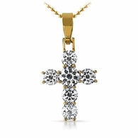 Designer 1 Row Gold 316L Bling Bling Cross