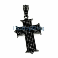 Designer Black on Black Invisible Set Iced Out Cross