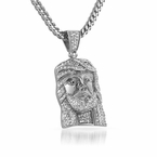 Designer Micro Jesus Pendant Iced Out Steel