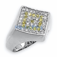 Diamond Classic .925 Sterling Silver White Yellow CZ Mens Micro Pave Ring #31yw