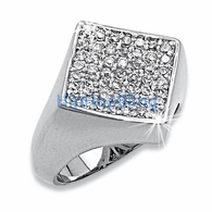 Diamond Classic Micro Pave .925 Sterling Silver CZ Mens Ring #31w