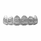 Diamond Cut Grillz Rhodium Classic Top