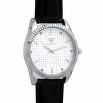 Diamond Dress Silver Watch Black Leather