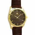 Diamond Dress Watch Gold Brown Leather Band