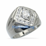 Diamond King CZ Rhodium Plated Mens Iced Out Ring