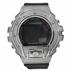 Digital .10ct Diamond Watch Black Band