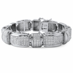 Domed Bar Link CZ Micro Pave Stainless Steel Bracelet