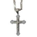 Double Cross Glitter Steel Pendant Chain Set