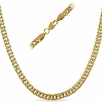 Double Cuban IP Gold  Stainless Steel Chain Necklace 6MM