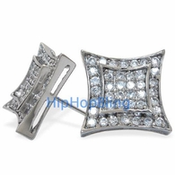 Double Kite Bling Bling CZ Micro Pave .925 Sterling Silver Earrings
