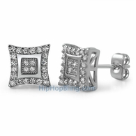 Double Kite M CZ Micro Pave Bling Earrings