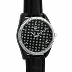 Dress Diamond Watch Silver Bezel Black Case & Band