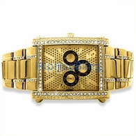 Dressy Rectangle Dial Gold Iced Out Watch Band
