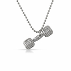 Dumbbell Weight Crossfit Rhodium CZ Pendant