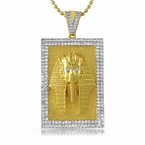 Egyptian Pharaoh Gold Block Iced Out Medallion